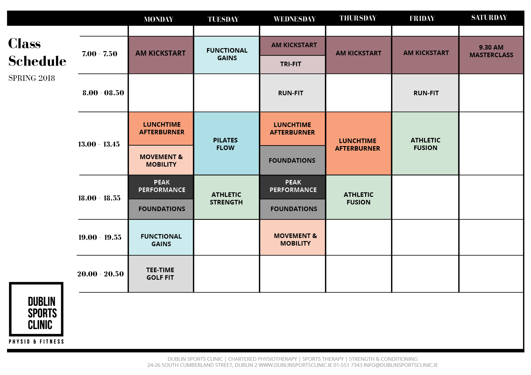 Class Timetable for Strength and Conditioning, Pilates and Mobility Group Training Classes at the Dublin Sports Clinic