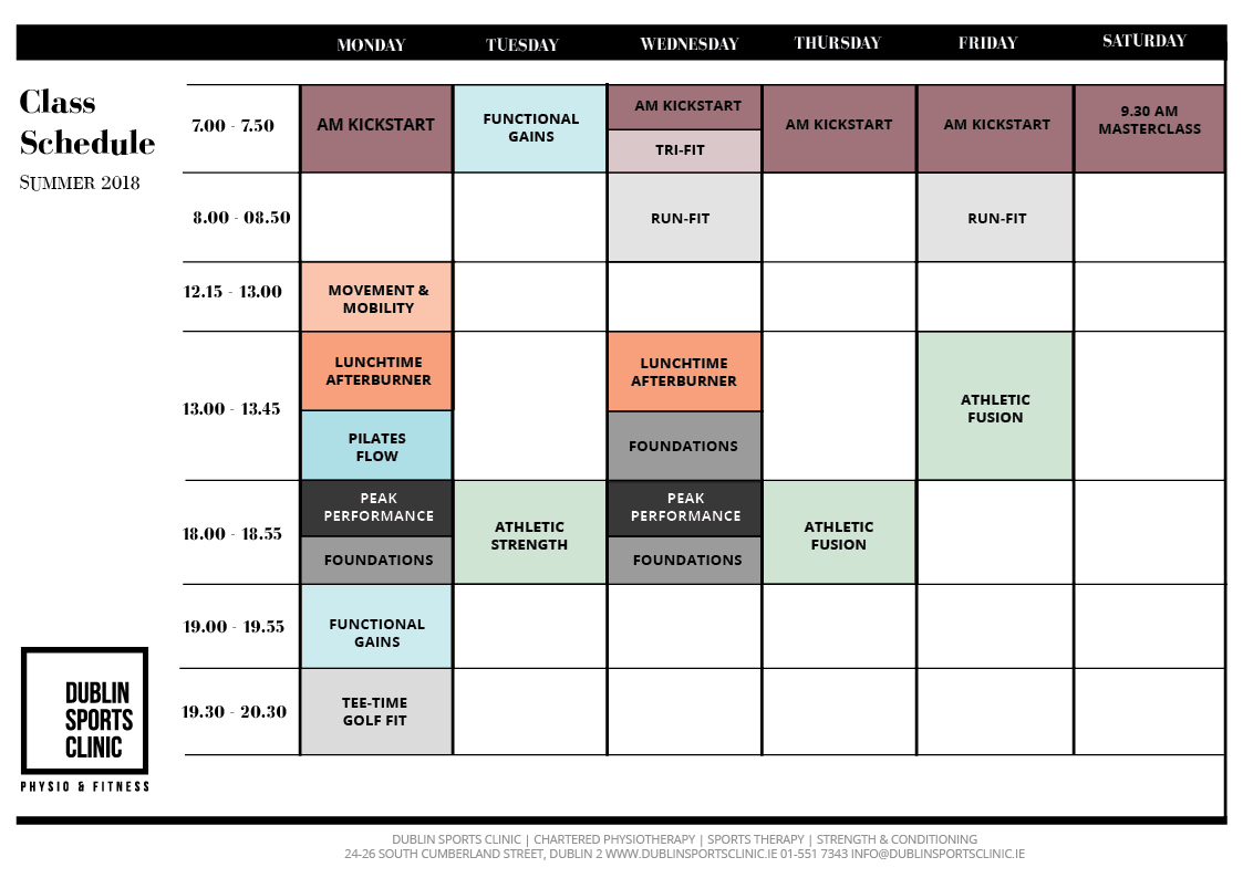 Strength and Conditioning Dublin Timetable