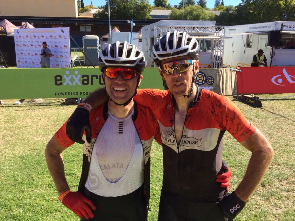 Mark Kidd and Robert Kehoe celebrate after finishing Cape Epic 2018