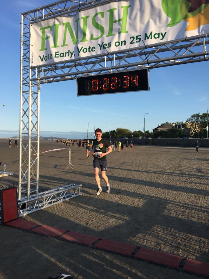 Ben Butler finishes the Together for Yes Fundraiser 5K run